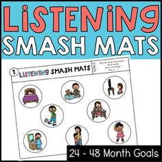 Listening smash mats for CASLLS goals: listening goals for listening and spoken language, auditory verbal therapy, and auditory verbal education. Deaf Education Activities, Language Activities, Therapy Activities, Teacher Resources, Speech Language Pathology, Speech And Language, Auditory Learning, Teaching Credential, Listen And Speak