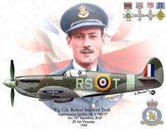 Wing Commander Robert Roland Stanford Tuck, DSO, DFC & Two Bars, AFC was a British-Jewish fighter pilot, flying ace and test pilot. Ww2 Aircraft, Fighter Aircraft, Military Aircraft, Aviation Theme, Aviation Art, Photo Avion, Focke Wulf, Flying Ace, Supermarine Spitfire
