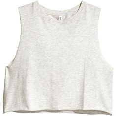 H&M Short sleeveless top (315 RUB) ❤ liked on Polyvore featuring tops, shirts, crop tops, tank tops, white sleeveless shirt, white singlet, sleeveless shirts, white shirt and crop shirts