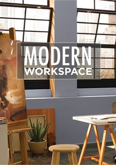 Let The Natural Light In Your Modern Industrial Office Space Bounce Off The  Beautiful, Relaxing Paint Colors. Try Updating Your Space With BEHR Paint  In ...