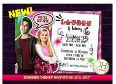 Invitations Disney, Moana Party Invitations, Digital Invitations, Birthday Party Invitations, Zombie Disney, Zombie Birthday Parties, Zombie Party, Zombie 2, Zombies Zombies
