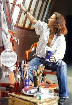 Johnny Depp in his studio Here's Johnny, Kit Harrington, Johny Depp, Z Cam, The Lone Ranger, Vanessa Paradis, Sweeney Todd, John Travolta, Captain Jack