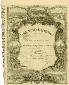 Banque de Paris et de Bretagne Société Anonyme, Paris, 2 December 1879, Share of 500 Francs, Libérée de 250 Francs, #497, 36.6 x 25.7 cm, green, black, rest of coupons attached.