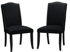 Cortesi Home Duomo Linen Crown Back Dining Chair, Black, Set of 2: Amazon.co.uk: Kitchen & Home