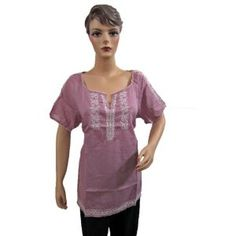 Womens Boho Fashion Tunic Top Violet Embroidered Cotton Blouse Kurti Xl (Apparel)  http://www.picter.org/?p=B007NFDZU2