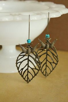 Antique Brass Leaf and Swallow bird Earrings  by tortugasdesign, $10.95