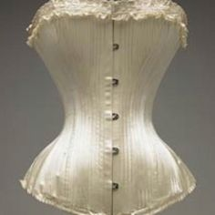 Ivory silk satin corset, masses of boning, classic shape. One of my favourite antique corset images ever. Satin fully-boned corsetry can be the perfect foundation for full bridal ensembles. Vintage Corset, Victorian Corset, Vintage Lingerie, Victorian Era, Vintage Dress, 1890s Fashion, Vintage Fashion, Edwardian Fashion, Edwardian Gowns