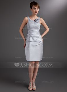 Lovely. Sheath/Column Scoop Neck Knee-Length Satin Mother of the Bride Dress With Ruffle Lace Flower(s) (008006032)