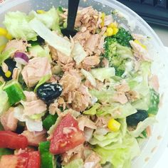 Desk lunch.... Adding cooked broccoli to a salad is divine... Obvs once it has cooled down! A smidgen of blue cheese dressing.... Because I'm not that boring! #sweatandgrace #sweatarmy #sweaty #gym #fitisthenewskinny #healthiswealth #health #salad #lowcarb #bluecheese #tuna #atum #olives #iceberg #desklunch by sweat_and_grace