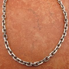 STERLING SILVER HADSOME RACTANGULAR MEN'S CHAIN NECKLACE #1463L