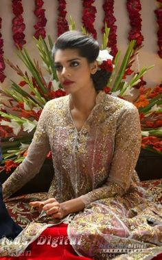Pakistani actress Sanam+Saeed   in bridal dress
