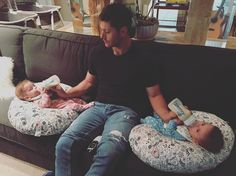 """Jensen Ackles on Instagram: """"When the remote control is right between your legs and you can't change the channel. #twins"""""""