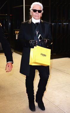 Karl Lagerfeld from Stars at New York Fashion Week Fall 2015  The man himself has arrived! The iconic designer and Chanel mastermind makes his way to the Fendi flagship opening bash.