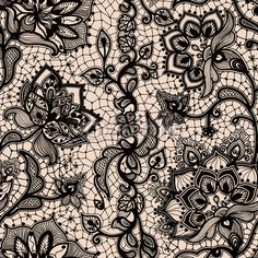 Abstract seamless lace pattern with flowers and butterflies. by vikpit74, Royalty free vectors #58861027 on Fotolia.com