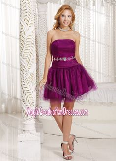 Purple Tulle Beading Ruched 5th Grade Graduation Dresses in Garden City