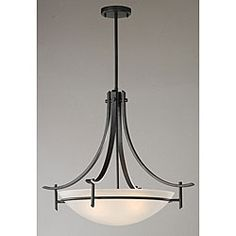 @Overstock - Shed some needed light on your modern décor with this contemporary three-light chandelier. The white glass shade is suspended from a matte black metal fixture that hangs down nearly 34 inches from the ceiling to illuminate your entire room.http://www.overstock.com/Home-Garden/Contemporary-Matte-Black-3-light-Chandelier/3859536/product.html?CID=214117 $89.99