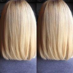 Rückansicht des gerade lange Bob Haircut - stumpf geschnitten mit Subtile Layering Hinzugefügt am Rand