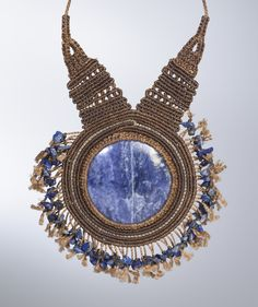"""Macrame Necklace"" sodalite, lapis lazuli, waxed fiber. http://rumisumaq.com/art-jewelry-portfolio/make-it-count/"