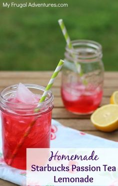 Copycat Starbucks Iced Passion Tea Lemonade -so easy to make at home!  Very refreshing and really delicious!