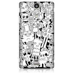 e_cell - Head Case Monster Doodle Galore Glossy Back Case for Sony Xperia TX LT29i