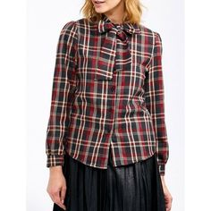 Plaid Pussy Bow Blouse ($15) ❤ liked on Polyvore featuring tops and blouses