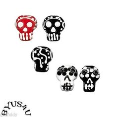 Lampwork Glass Skeleton Head 18x14mm Calavera Dia de Los Muertos Focal Beads | eBay