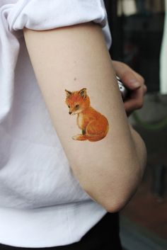 Cute little fox temporary tattoo by Tattoorary on Etsy, $6.00