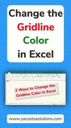 Change the Gridline Color in Excel Spreadsheets - 2 Ways! See how to change the gridline color in Excel spreadsheets. We go over 2 ways that you can do this. You might want to change the color of the Computer Basics, Computer Help, Computer Technology, Computer Programming, Computer Tips, Energy Technology, Excel Tips, Excel Hacks, Microsoft Office Online