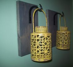 YELLOW Gray Hanging LANTERN SET Pair on Wood Board / Wrought iron hooks / Wall Sconce Rustic Lantern Bathroom Bedroom Decor Wall Decor by RusticPleasures on Etsy