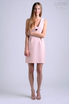 peach light pink plunging dress / occasion dress / by OtinyuO