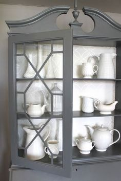 Furniture Most Beautiful Antique China Cabinet Makeover Ideas How Landscape Paintings Can Brigh Grey Furniture, Paint Furniture, Furniture Projects, Furniture Makeover, Home Furniture, Rustic Furniture, Antique Furniture, Furniture Stores, Outdoor Furniture