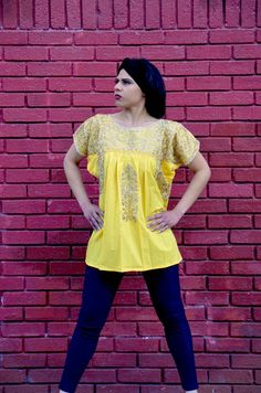 d588b2d0ad7 Gorgeous Yellow Hand Made and Embroidered Blouse Top Peasant from Oaxaca  Mexico