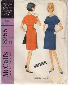 McCalls 8255 Dress Kimono Sleeves 1966 Vintage Sewing Pattern Sz 12 Uncut #McCalls #dresswithmidriff