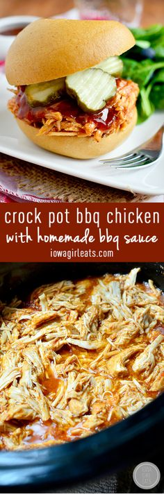 Crock Pot BBQ Chicken with Homemade BBQ Sauce is easy and luscious - use for sandwiches, nachos, wraps, and more! #glutenfree | iowagirleats.com