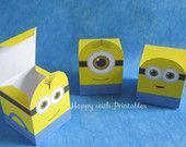 Printable Minion party favors  - Minion Bob, Minion Kevin and Minion Stuart favor - Minion favor box  -  Minions favor - Instant Download