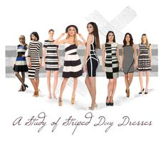 """""""A study of Striped Day Dresses"""" by fernshadow ❤ liked on Polyvore featuring Vince Camuto, Maggy London, Jack BB Dakota, Koh Koh and Karen Millen"""