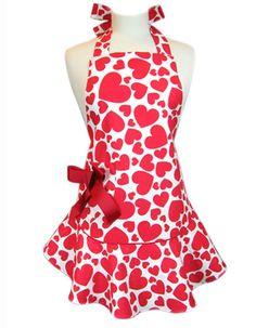 Josephine Red and White Hearts Full Apron