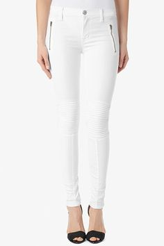 """The Stark Moto has a super slim silhouette, 30"""" inseam that hits just above the ankle, and a mid-rise to sit a little higher on the waist for comfortable fit. It features zipper detail at the hips and ribbed knee texture. Get it in winter White and wear all season long into summer."""