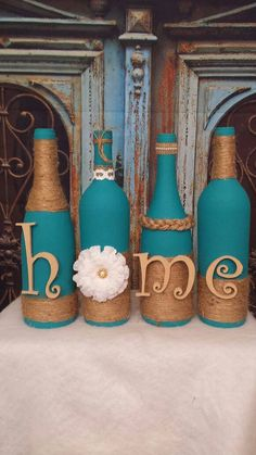 Botellas de vino decoradas conjunto pintado de botellas de