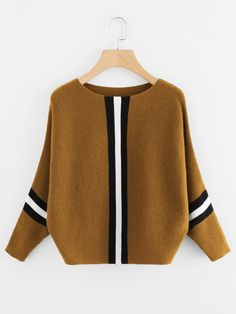 Contrast Striped Panel Batwing Sweater -SheIn(Sheinside)
