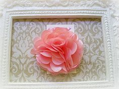 Light Coral Satin and Tulle Flower Puff Hair Clip by Diddlebugs, $3.95 maybe for flower girls!