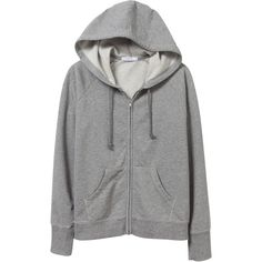 Eco-Micro Fleece Zip Hoodie ($64) ❤ liked on Polyvore featuring tops, hoodies, jackets and outerwear