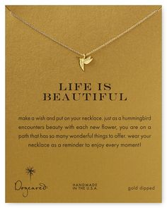 """Dogeared Life is Beautiful Necklace, 18""""   14k gold dipped sterling silver   Made in USA   18""""L   Spring ring closure   Photo may have been enlarged and/or enhanced   Web ID:697074"""