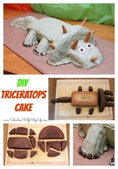 How to make a Dinosaur Triceratops Cake for a Dinosaur party Dino Cake, Dinosaur Cake, Dinosaur Party, Dinosaur Birthday, Birthday Desserts, Birthday Parties, 4th Birthday, Birthday Cakes, Birthday Stuff
