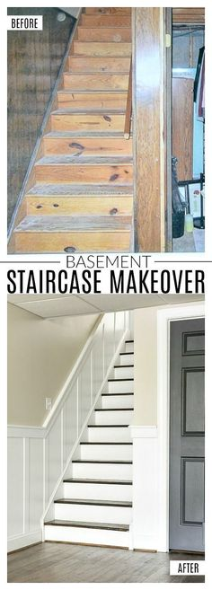 Do It Yourself: How to update and transform a basic basement staircase with board and batten. #boardandbatten #beforeandafter