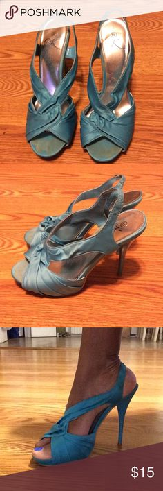 SHOES .. SHOES AND more SHOES Beautiful blue satin heels Shoes Heels