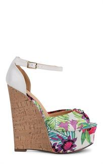 White Floral Peep Toe Cork Wedges
