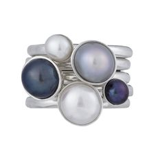 Pearlicious!!  #dowerandhall #twinklerings #stackingrings #gemstones #pearls #jewellery #colour