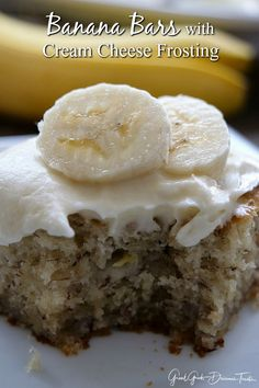 Incredibly delicious homemade banana bars with cream cheese frosting are super moist, loaded with bananas and the amazing cream cheese frosting is to die for. A easy dessert recipe that everyone will fall in love with and request over and over again. Banana Dessert Recipes, Easy Desserts, Delicious Desserts, Potluck Desserts, Baking Desserts, Keto Desserts, Sweets Recipes, Cookie Recipes, Moose Dessert