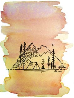 Camping Postcard 1 - based on art style by @david_rollyn